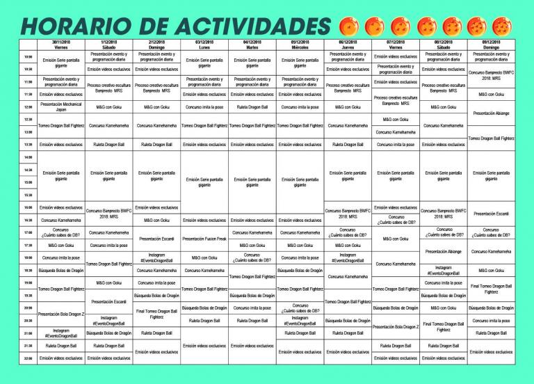 horario-actividades-evento-dragon-ball-super-españa-centro-comercial-la-vaguada