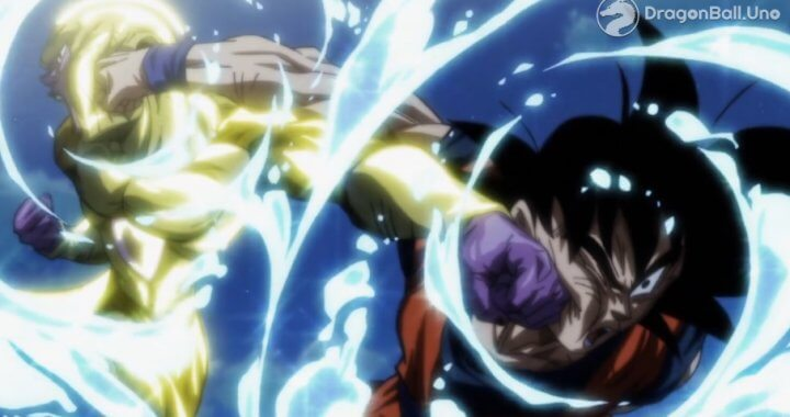 puñetazo freezer y goku dragon ball super